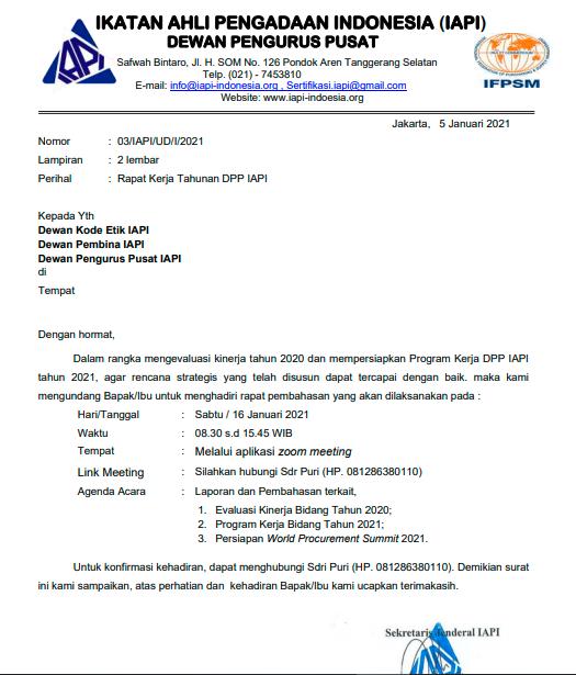 Undangan Rapat Kerja Tahunan DPP IAPI Tahun 2021